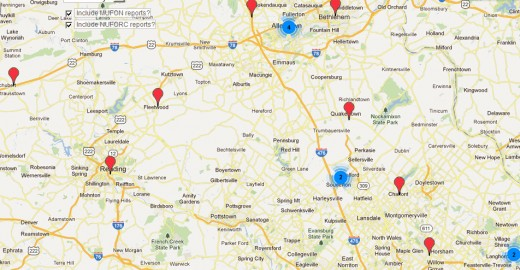 Sighting Concentrations around Allentown, PA and south of there for the 30 days ending 4/24/12.