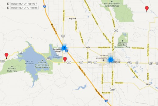 UFO Sightings Concentration in and Around Los Banos, CA for the 30 days ending on 4/24/12.