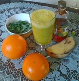Oranges, banana, malunggay (moringa), and organic honey- best health smoothie to boost energy