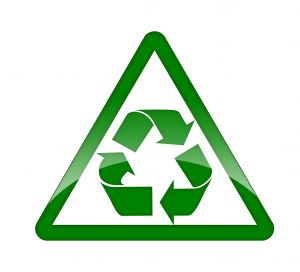 Look for the universal recycle emblem when you shop. Those green arrows mean everything can be recycled or has been made from repurposed materials.