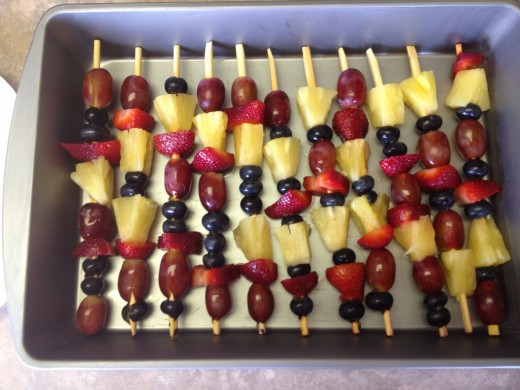 Fruit Kabob's -- joining the party in the tummy!!
