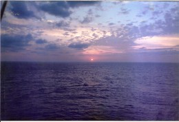 Sunset over the ocean on the way to the Carribean