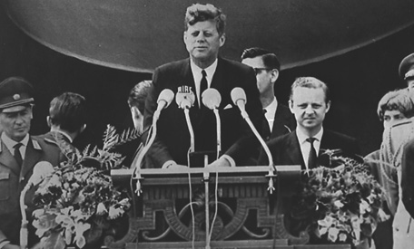 "President John F. Kennedy during the ""Ich bin ein Berliner"" speech in West Berlin on June 26, 1963."