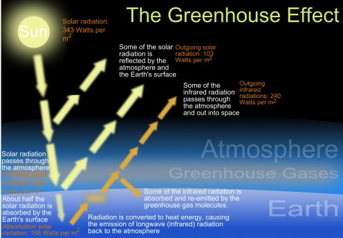 This diagram shows how the greenhouse effect works.