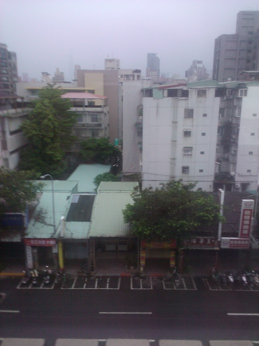 View from hotel window; typical Taipei street.