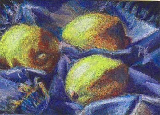 """Three Lemons"" still life by Robert A. Sloan"