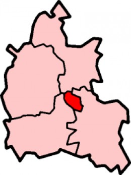 Map location of Oxford, in Oxfordshire.