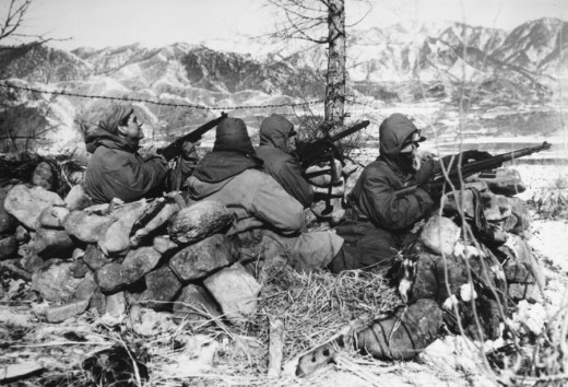 A whisper of wind blew across the frozen ground.   American troops in the Korean War