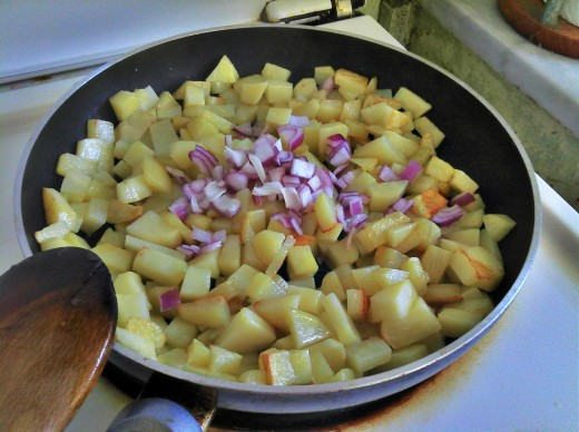 Semi cooked Potatoes with Onions