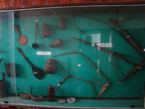 Musical instruments and weapons of the tribals. From the Wayanad Heritage Museum.