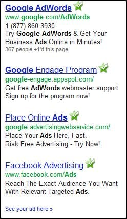 Example of Google's simple targeted ads