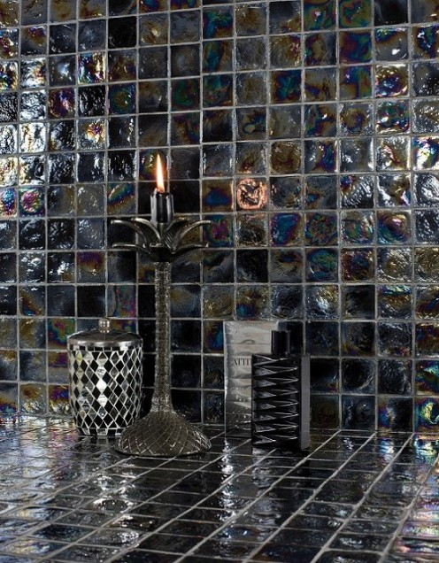 A Black and Mixed Glass tile sized 30.6cm x 30.6cm