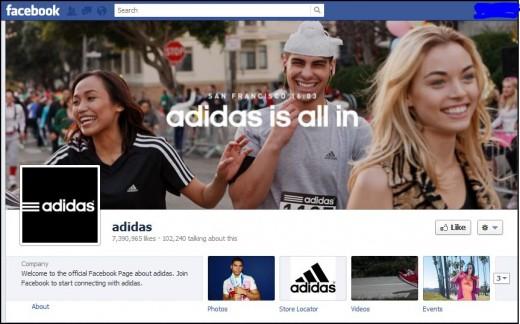 Adidas' Company Facebook Page