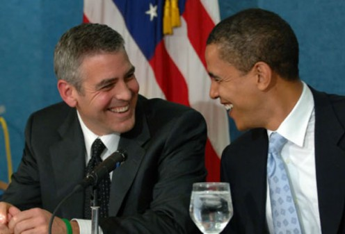 George Clooney and Barack Obama discussing Clooney for 2016