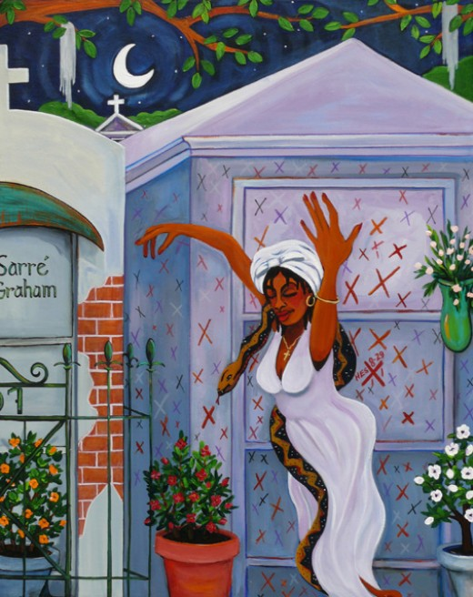 An Artist's Impression of Marie Laveau in front of her Grave