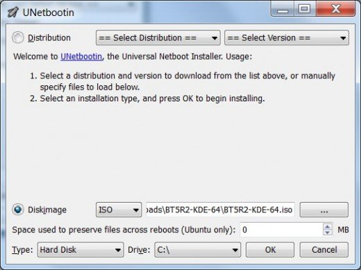Use the disk image option in UNetbootin.