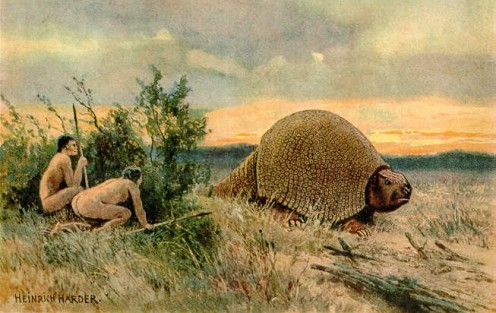 Paleo indians stalking a Glyptodont.  Similar to today's armadillos.