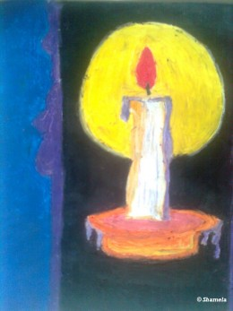 A candle drawn with crayon and photographed.