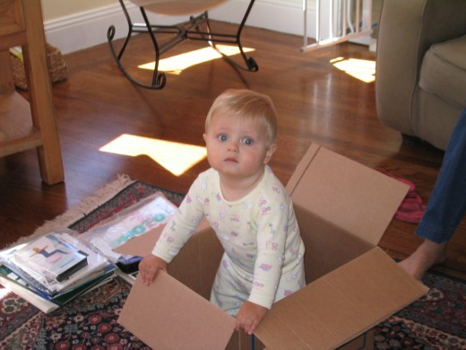 Almost done:  moving boxes doubling as a toy.  Are we having fun yet?