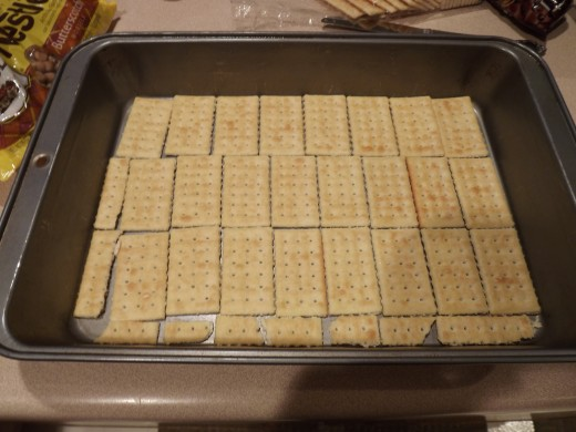 First layer of crackers