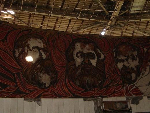 Marx, Engels and Lenin (vandalized interior of Buzludzha Monument)