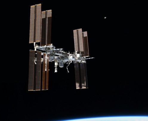 STS-135 final flyaround of ISS. This picture of the International Space Station was photographed from the space shuttle Atlantis as the orbiting complex and the shuttle performed their relative separation in the early hours of July 19, 2011.