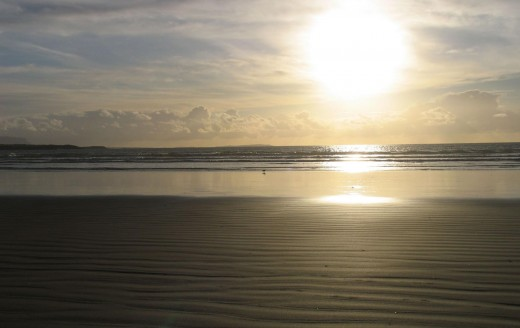 It was early evening and we took a walk at sunset on th beach in the Bay of Donegal