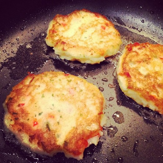 Potato Pancakes with Onion and Red Bell Pepper by Heather Says