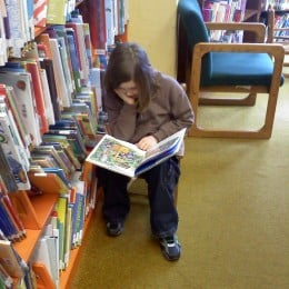 My bookworm at the library