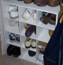 Shelfs for shoes in your closet.