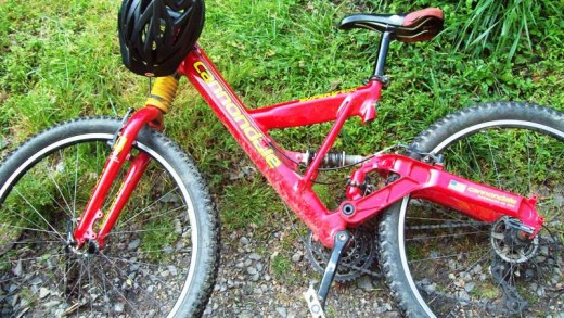 My well-used, well-loved mountain bike.  It's been with me through a lot - even a few crashes.