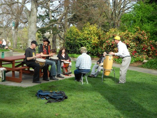 Drummers liven up the play park