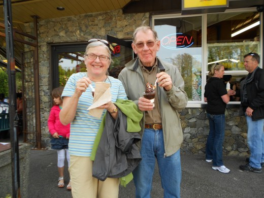 Visitors enjoy ice-cream sundae's from the Beacon Drive In