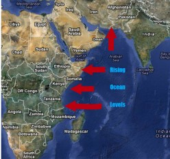 As the African plate rolls and stretches westward it submerges all low lying areas behind it.