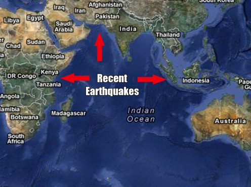 Recent Earthquakes in the area have contributed to the rising Ocean Levels that are flooding coastlines Worldwide.