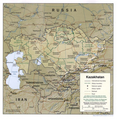 Map of Kazakhstan (Karaganda)