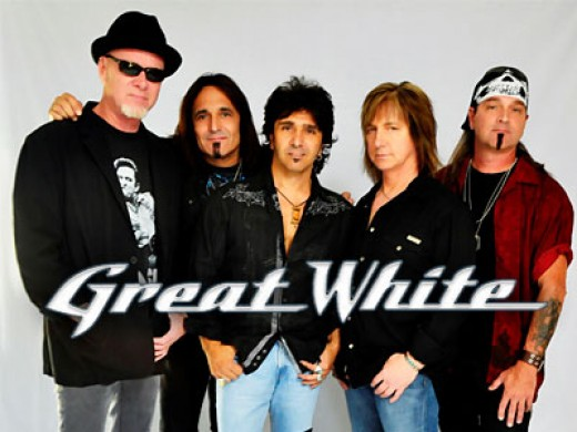 Great White 2012, with new vocalist Terry Ilous (center)