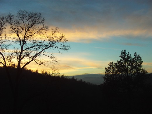 An orange tinged sunset up in the San Bernardino Mountains.