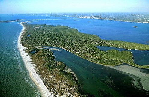 Partial aerial of Caladesi Island shows where the original inlet was likely located before the hurricane of 1921.