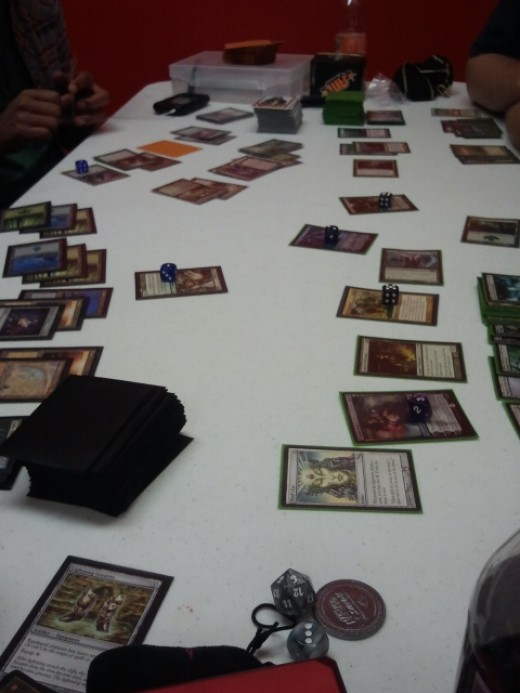 A friendly four-player EDH while we waited.