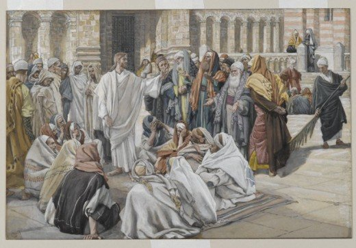 "Jesus talking to Pharisees (James Joseph Jacques Tissot.) ""The Spirit of the Lord is upon me..."""