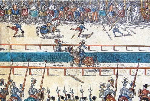 Out of copyright ~ 16th century German print. See: http://en.wikipedia.org/wiki/File:Tournament_between_Henry_II_and_Lorges.jpg