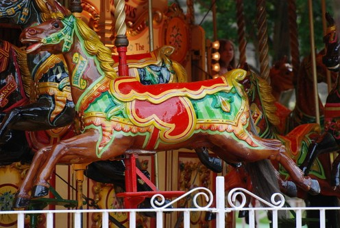 """I, the copyright holder of this work, release this work into the public domain."" See: http://en.wikipedia.org/wiki/File:Carousel_Horse,_Princes_Street_Gardens,_Edinburgh.jpg"