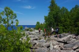 Hiking on rocks.