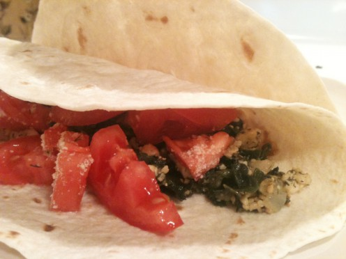Healthy Spinach and Dill Tofu Taco with Whole Wheat Tortillas