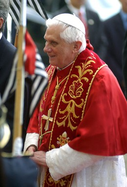 Pope Benedict XVI, head of the catholic church. The catholic church was a primary entity effected by the contraception controversy.