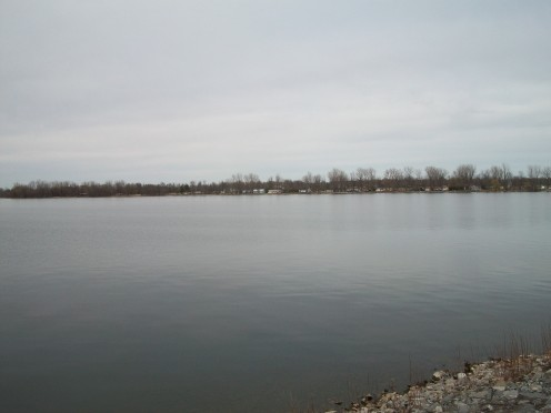 The Vermont shore of Lake Champlain, from the Korean Veterans' Memorial Bridge