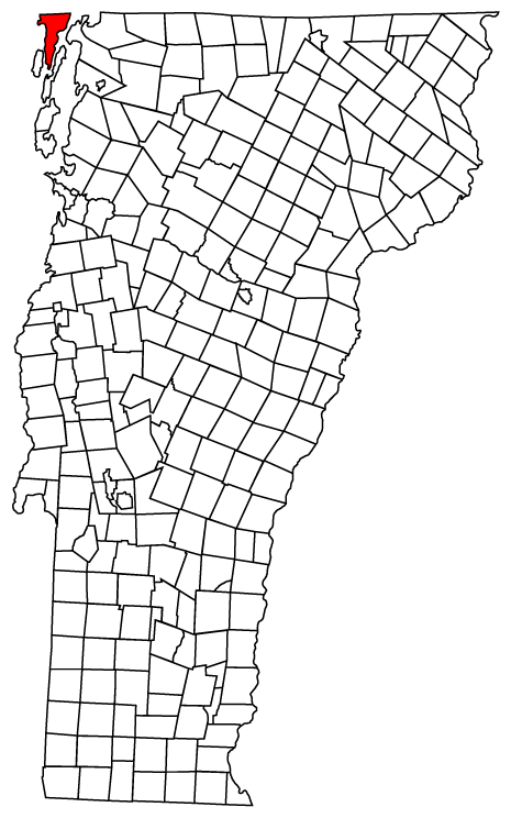 Map of Vermont towns with Alburgh highlighted