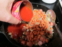 Add tomato sauce and choice of beans.