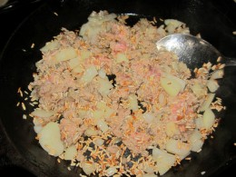 Rice, ground turkey, and onions....